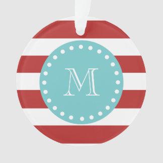 Red White Stripes Pattern, Teal Monogram Ornament