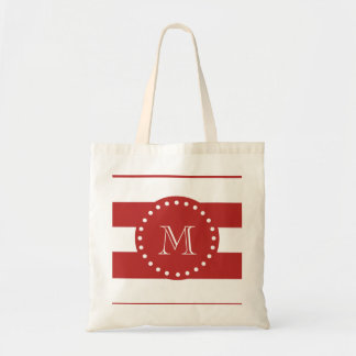 Red White Stripes Pattern, Your Monogram Budget Tote Bag
