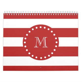 Red White Stripes Pattern, Your Monogram Wall Calendars