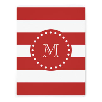 Red White Stripes Pattern Your Monogram Announcement