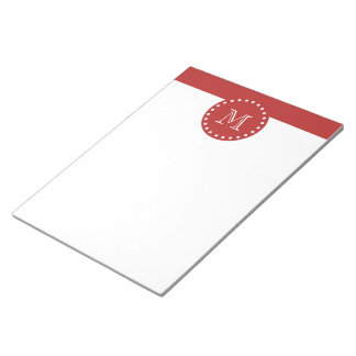 Red White Stripes Pattern, Your Monogram Notepad