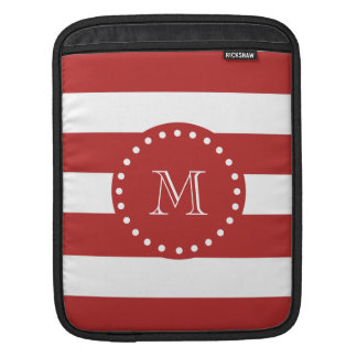Red White Stripes Pattern, Your Monogram Sleeve For iPads