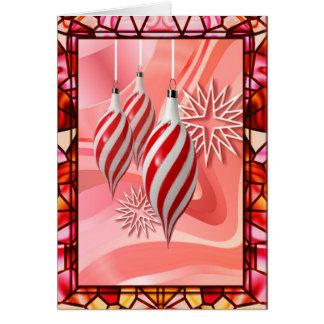 RED, WHITE STRIPES  STAINED GLASS by SHARON SHARPE Card