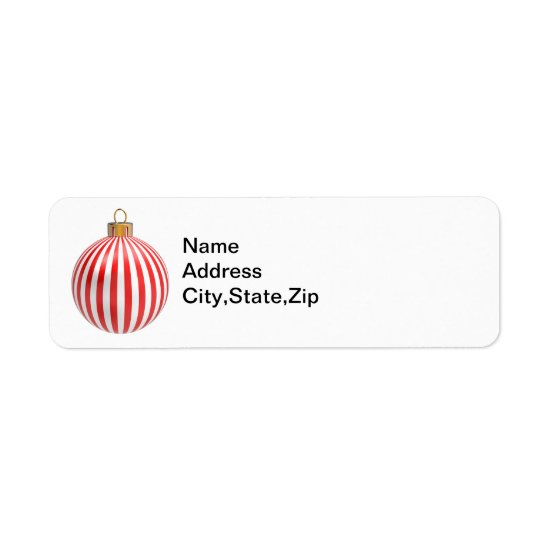 Red & White Stripped Christmas Ball Return Labels