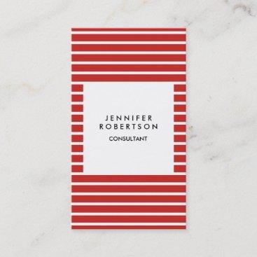 Red White Strips Minimalist Modern Plain Creative Business Card