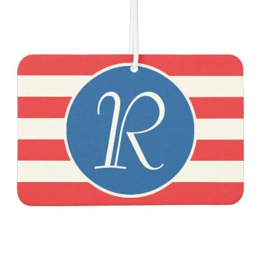 USA Themed Red & White Strips Monogram Car Air Freshener
