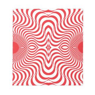 Red white Swirl Art Note Pad