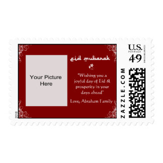 Red-White Swirl Eid Photo Stamps