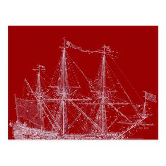 Red & White Tall Sailing Ship Print Postcard