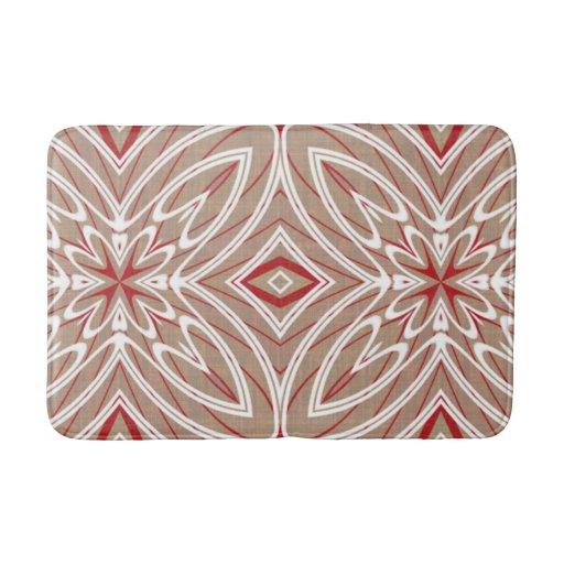 Red white taupe vintage retro nouveau deco pattern bath mats zazzle - Deco toiletten taupe ...