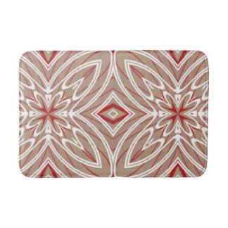 Red White Taupe Vintage Retro Nouveau Deco Pattern Bath Mats