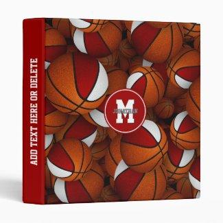red white team colors boys girls basketball 3 ring binder