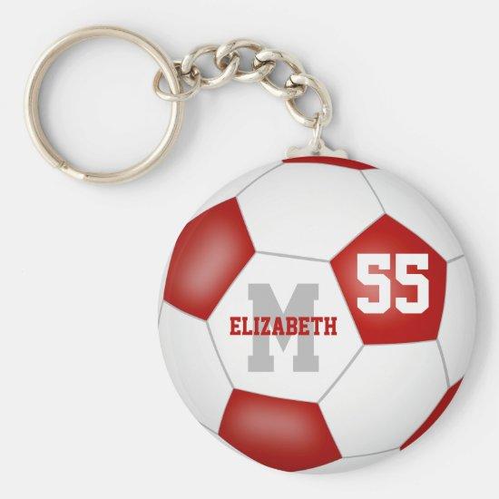 red white team colors girls boys soccer ball keychain