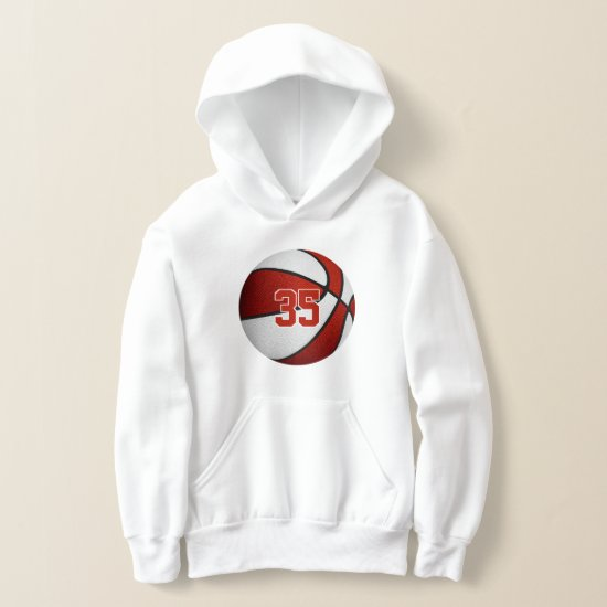 red white team colors jersey number basketball hoodie