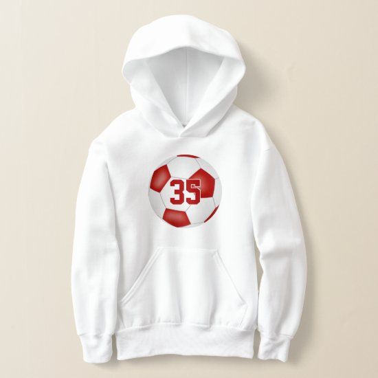 red white team colors jersey number soccer hoodie
