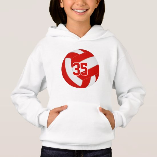 red white team colors jersey number volleyball hoodie