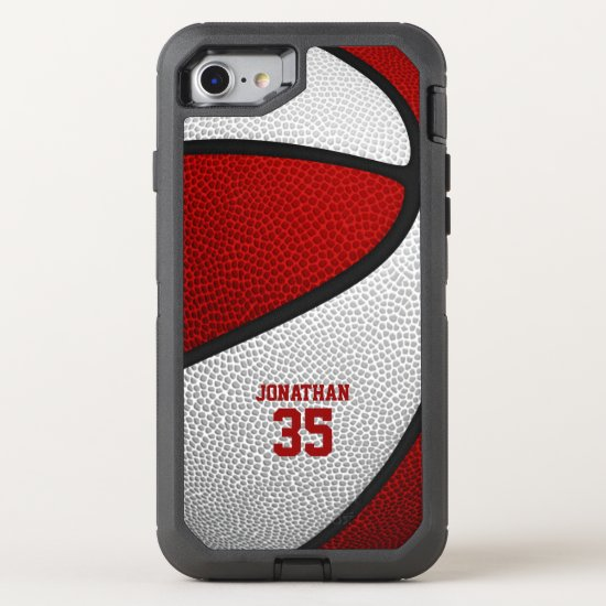 red white team colors personalized basketball OtterBox defender iPhone SE/8/7 case