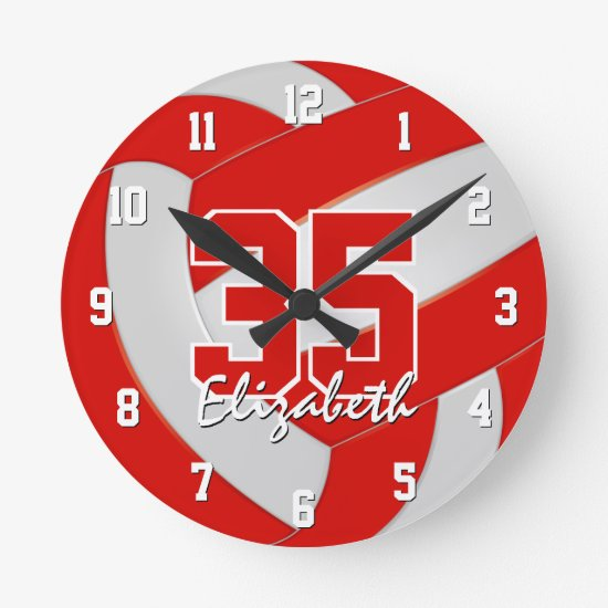 red white team colors personalized volleyball round clock