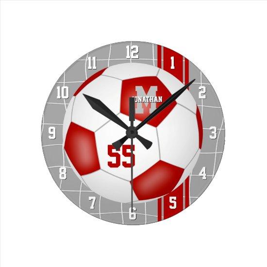 red white team colors varsity stripes soccer round clock