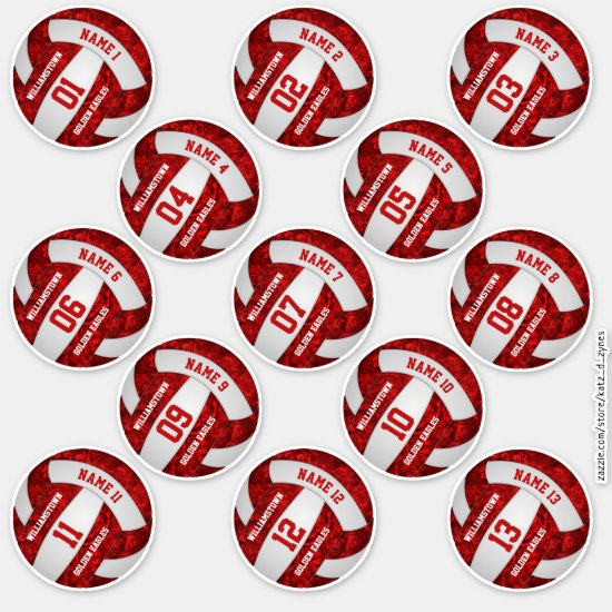 red white team colors volleyball 3 inch stickers