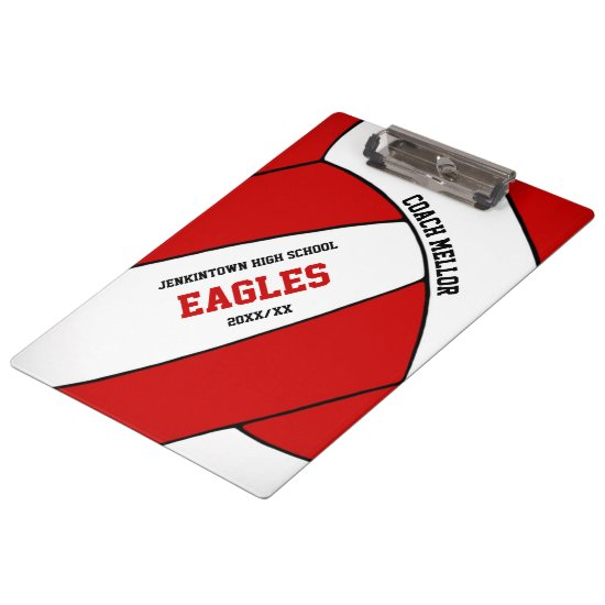 red white team colors volleyball coach clipboard