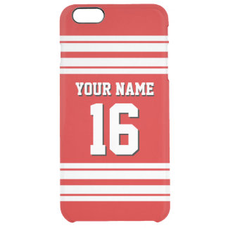 Red White Team Jersey Custom Number Name Clear iPhone 6 Plus Case