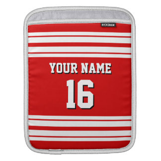 Red White Team Jersey Custom Number Name Sleeve For iPads