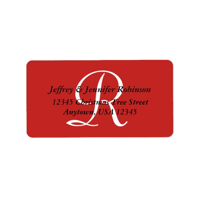 Red White Textured Return Address Label Monogram