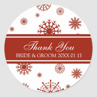 Red White Thank You Winter Wedding Favor Tags Classic Round Sticker