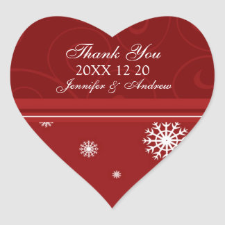 Red White Thank You Winter Wedding Stickers