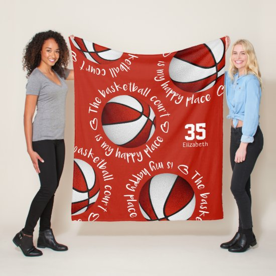 red white The basketball court is my happy place Fleece Blanket