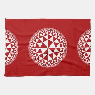 Red & White Triangle Filled Mandala Hand Towel