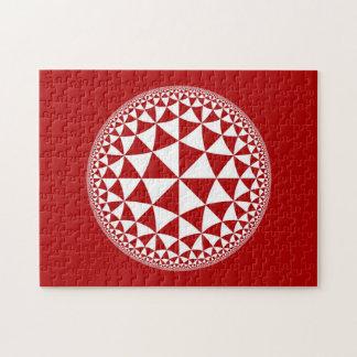 Red & White Triangle Filled Mandala Jigsaw Puzzle