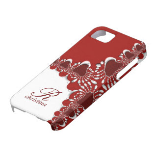 Red White Tribal Lace  Fractals Monogram iPhone 5 iPhone SE/5/5s Case