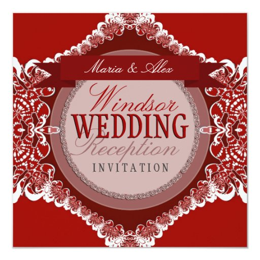 Red White Tribal Lace Wedding Invitation