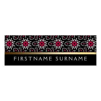 Red White Tribal Pattern | Black Mini Biz Cards Business Cards