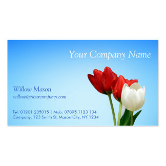 Red White Tulips, Blue Sky - Business Card