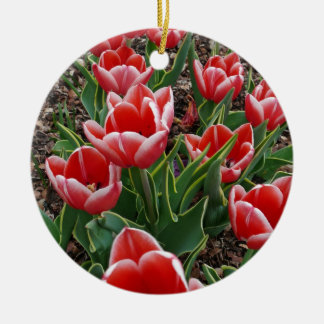 Red & White Tulips Double-Sided Ceramic Round Christmas Ornament
