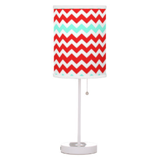Red, White & Turquoise Chevron Table Lamp