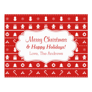Red White Ugly Christmas Sweater Pattern Greeting Postcard