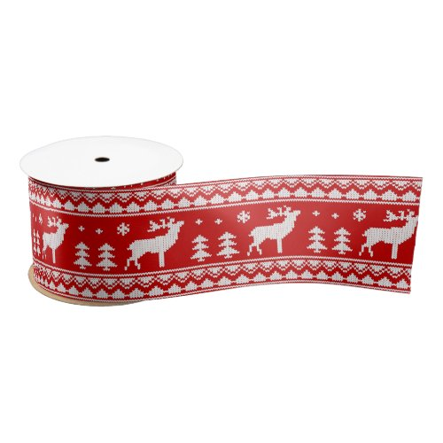 Red White Ugly Christmas Sweater Pattern Ribbon