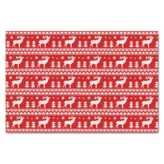 Red White Ugly Christmas Sweater Pattern Tissue Paper