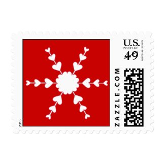 Red White Valentine Hearts Snowflake Postage Stamp