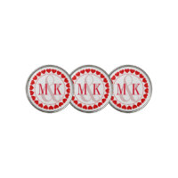 Red & White Valentines Hearts With Monogram Golf Ball Marker