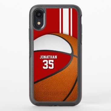 red white varsity basketball team colors boys OtterBox symmetry iPhone XR case