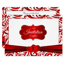 Red & White Verder Swirl Pattern Design Invitation