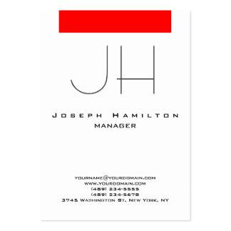 Red white vertical modern plain monogram large business card