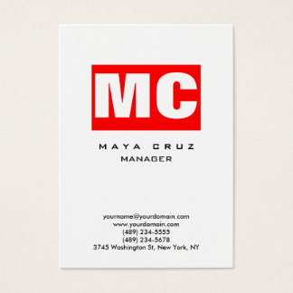 Red white vertical modern plain trendy stylish business card