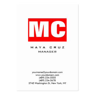 Red white vertical modern plain trendy stylish large business card