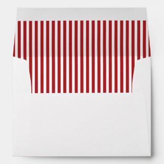 Red White Vertical Stripe Lined Envelope